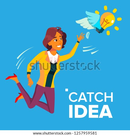 business woman jumps and tries to catch idea vector yellow light bulb flying on wings illustration stock photo © pikepicture