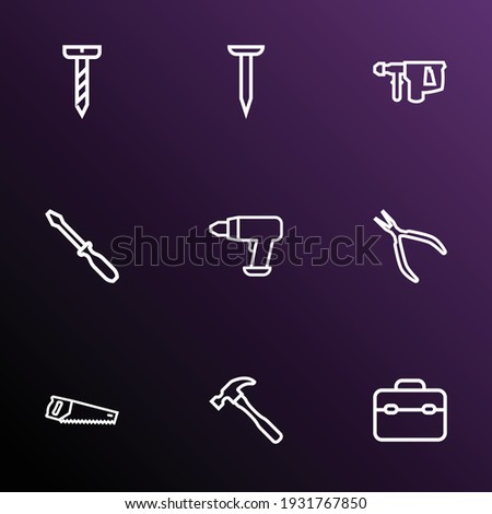 Toolbox with a hammer, screwdriver and handsaw, isolated on whit Stock photo © Nobilior