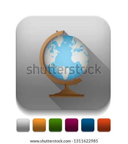 wereldbol · icon · zwarte · app · knop · schaduw - stockfoto © kyryloff