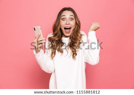 Görüntü genç avrupa kadın 20s çığlık atan Stok fotoğraf © deandrobot