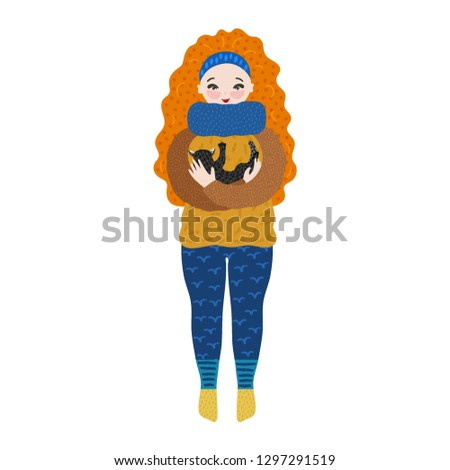 Girl in warm clothes holding cat in her arms. Pastime. Hand drawn cute cartoon character hugging kit Stock photo © user_10144511