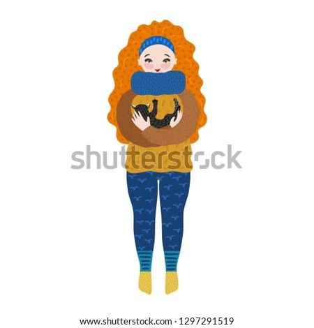 meisje · warm · kleding · najaar · winter · weekend - stockfoto © user_10144511