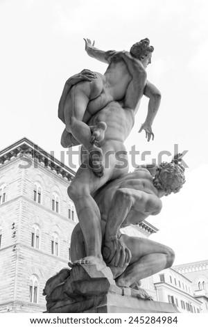 Szobor nemi erőszak nők Florence Olaszország épület Stock fotó © boggy