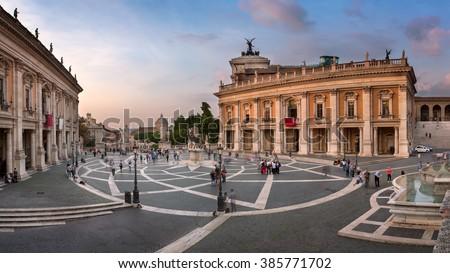 Marcus Aurelius statue on Piazza del Campidoglio in Rome, Italy Stock photo © boggy
