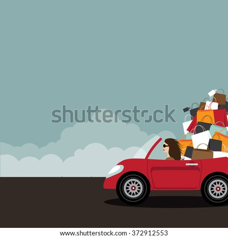 woman with shopping bags and shop discount tag vector illustration stock photo © rastudio