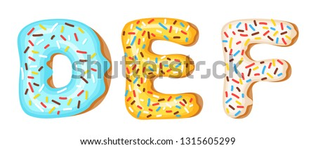 Donut icing upper latters - D, E, F. Font of donuts. Bakery sweet alphabet. Donut alphabet latters A Stock photo © MarySan