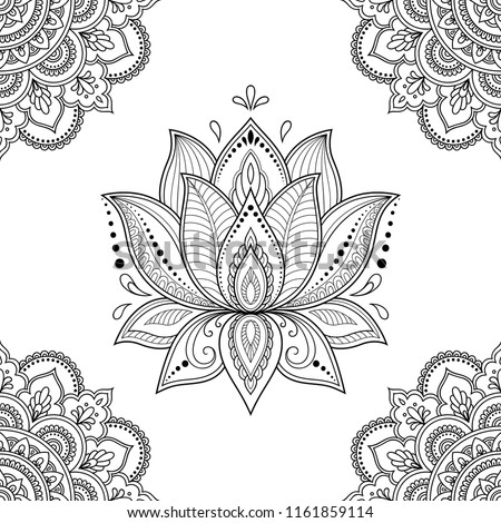 Indian Lotus flower vector seamless pattern, Mehndi henna tattoo style, Yoga or zen decoration, bohe Stock photo © RedKoala