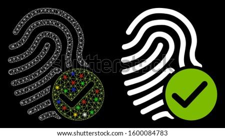 Fingerprint Success Icon, thumbprint with checkmark. vector illustration isolated on white backgroun Stock photo © kyryloff