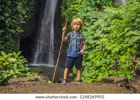 Boy with a trekking stick on the background of Leke Leke waterfall in Bali island Indonesia. Traveli Stock photo © galitskaya