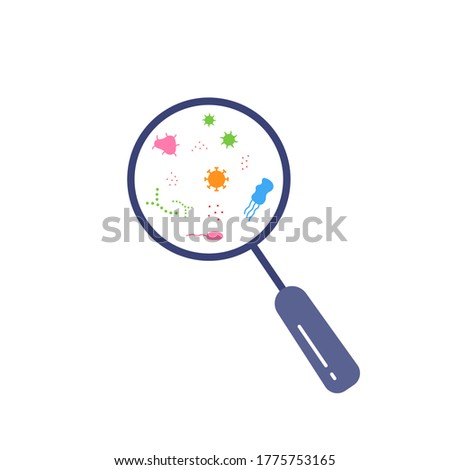 magnifying glass with germs color bacterial microorganism icon with shadow on a green circle stock photo © imaagio