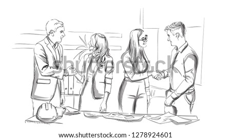 Businessmen and women succesful team shaking hands Vector sketch Stock photo © frimufilms