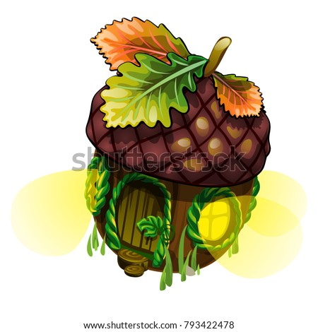 Fairy house in form of acorn with glowing windows isolated on white background. Vector close-up cart Stock photo © Lady-Luck