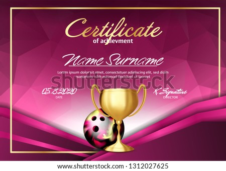 Bowling certificaat diploma gouden beker vector Stockfoto © pikepicture