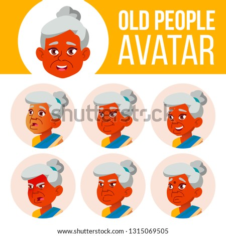 Indian Old Woman Avatar Set Vector. Face Emotions. Senior Person Portrait. Elderly People. Aged. Bea Stock photo © pikepicture