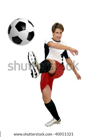 Soccer Shot. Young Boys Kicking Football Soccer Tournament Match Stock photo © matimix