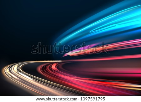 Colorful light trails with motion blur effect long time exposure isolated Stock photo © MarySan
