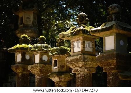 Laternen Beleuchtung dunkel Schrein Japan Tempel Stock foto © daboost