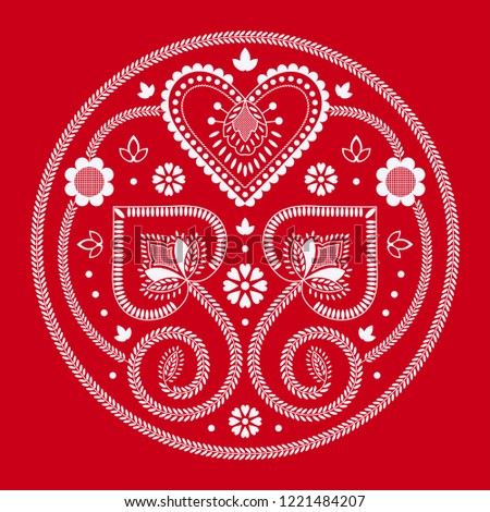 scandinavian folk art vector mandala with flowers floral round ornament nordic design with flowers stock photo © redkoala