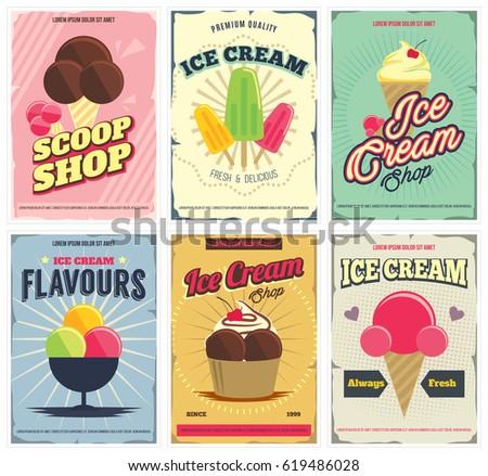 вектора · мороженым · плакат · Vintage · стиль · типографики - Сток-фото © Giraffarte