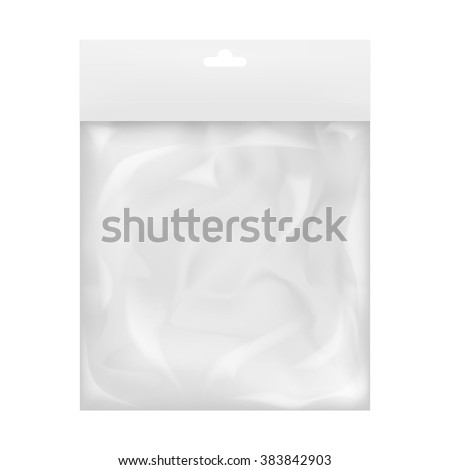 Plastic Hanger Pocket Bag Vector. Transparent Hang Bag Wrap. Empty Product Polyethylene Mock Up Temp Stock photo © pikepicture
