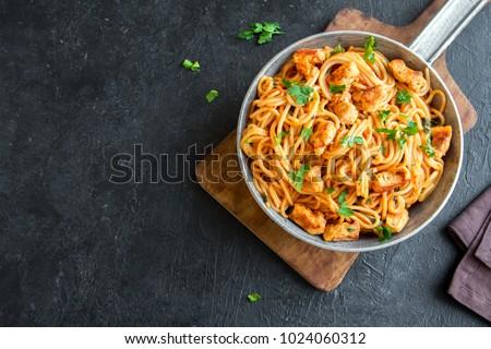 итальянский · спагетти · пасты · томатный · куриные · соус - Сток-фото © tycoon