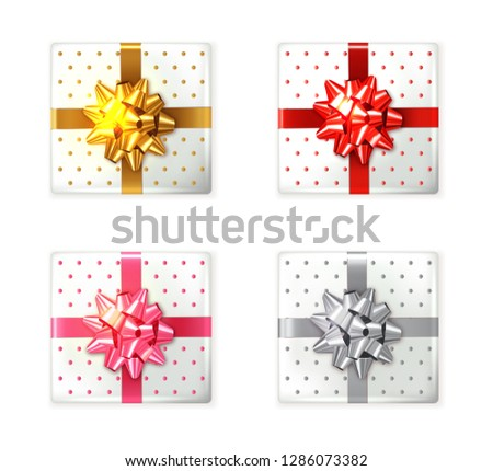 Colorful Gift box set Vector realistic. Product placement mock up. Design packaging 3d illustrations Stock photo © frimufilms