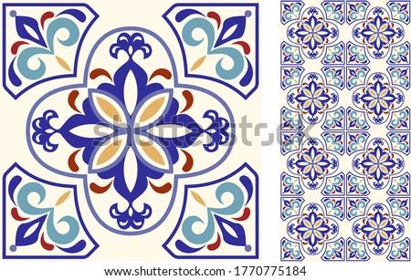 portuguese or spanish retro tile azulejos vector seamless gray design geometric background   textil stock photo © redkoala