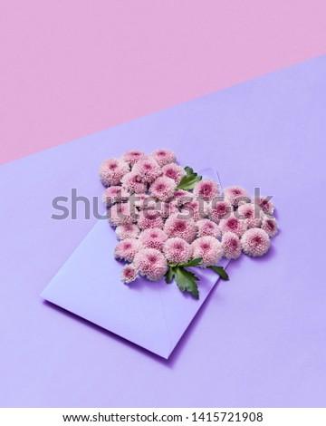 Hecho a mano dotación flores corazón pastel crisantemo Foto stock © artjazz