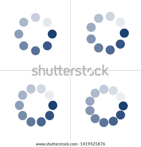 loading icon set with different number of dots or circles buffer loader or preloader donload or up stock photo © kyryloff