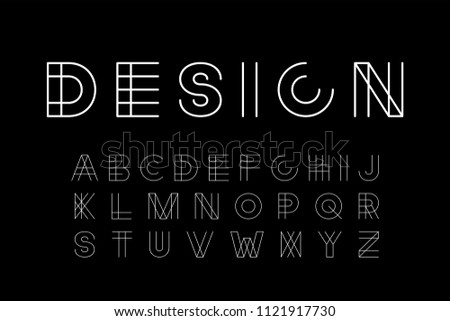 Vector designer minimalistic font. Trendy english alphabet. Thin simple latin letters and numerals. Stock photo © ExpressVectors