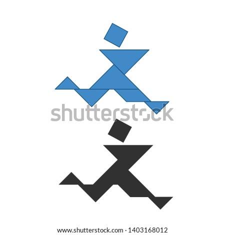 Esecuzione uomo tradizionale cinese puzzle sette Foto d'archivio © kyryloff