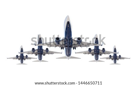 Stockfoto: Five Passenger Airplanes In Formation Isolated On A White Backgr