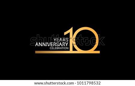 Altın 10 yıldönümü kutlama numara logo Stok fotoğraf © MarySan
