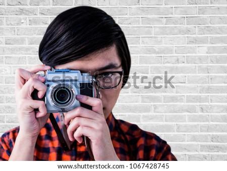 Człowiek kamery biały murem digital composite Zdjęcia stock © wavebreak_media