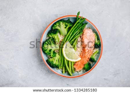 Seattle · ázsiai · edények · tengeri · hal · edény · brokkoli - stock fotó © galitskaya