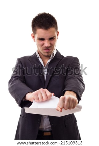 Businessman in depression sitting on crumpled torn paper document heap Stock photo © ia_64