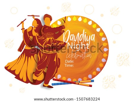 couple playing dandiya in disco garba night banner poster for navratri dussehra festival of india stock photo © vectomart