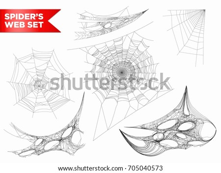 Set of spider web of different shapes with white spiders isolated on black Stock photo © MarySan