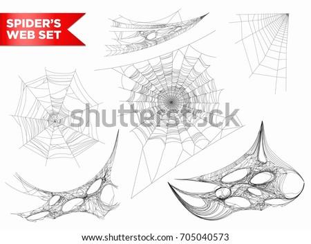 Szett pókháló különböző formák fehér pókok Stock fotó © MarySan
