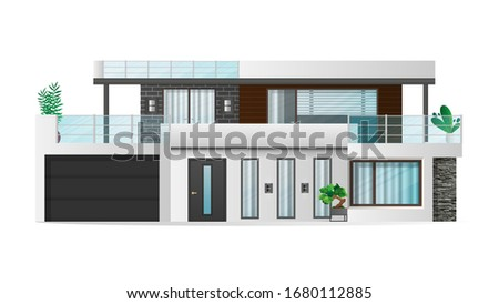 Exterior of modern comfortable cottage or house with front yard Stock photo © pressmaster