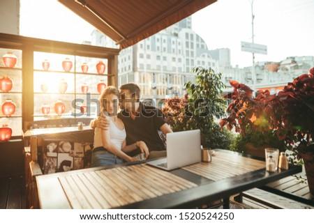 Nyugodt nő laptopot használ terasz gyönyörű tájkép Stock fotó © dash
