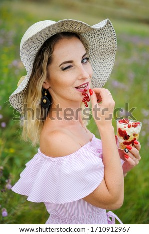 Summer holiday, vacation, relaxation concept. Raspberries, hat, smartphone, spinner, sunglasses from Stock photo © galitskaya
