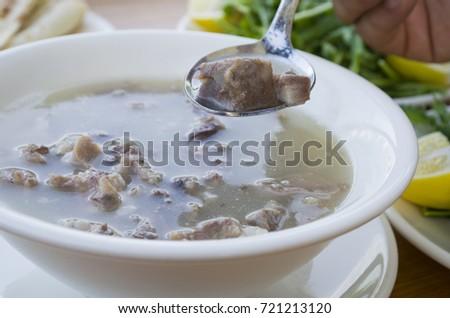 Török hagyományos leves tojás főzés edény Stock fotó © joannawnuk