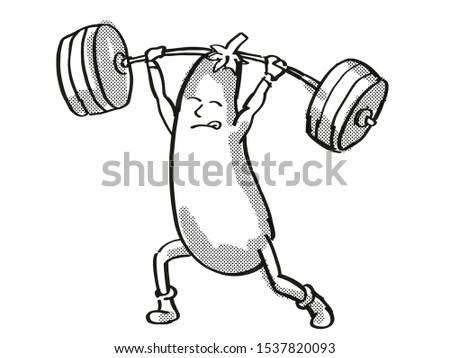 Eggplant or Aubergine Healthy Vegetable Lifting Barbell Cartoon Retro Drawing Stock photo © patrimonio