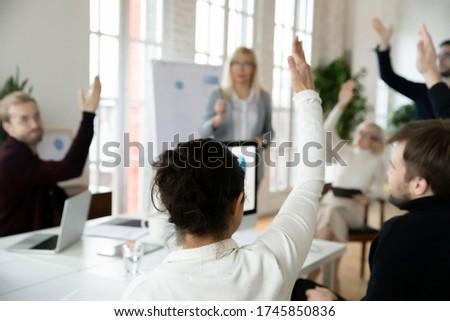Hátsó nézet félvér nő ül közönség kéz Stock fotó © wavebreak_media