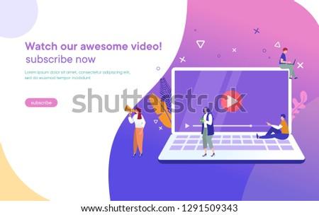 Emberek streamelés online videó laptop okostelefon Stock fotó © benzoix