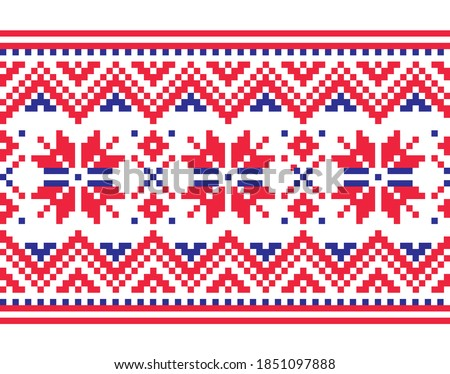Christmas vector long seamless winter pattern, inspired by Sami people, Lapland folk art design, tra Stock photo © RedKoala