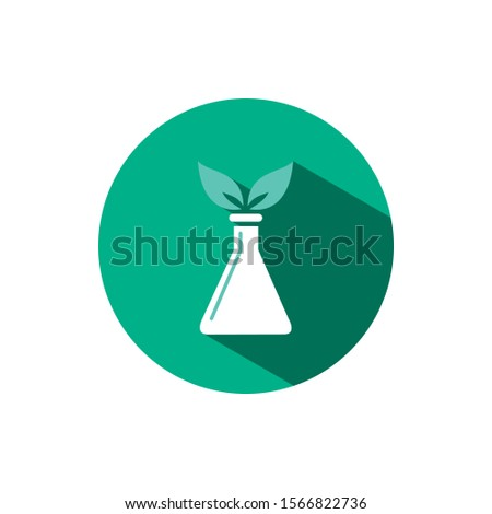 Conical flask icon with two leaves and shadow on a green circle. Vector pharmacy illustration Stock photo © Imaagio