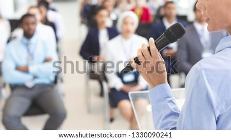 Caucasiano masculino alto-falante negócio seminário Foto stock © wavebreak_media