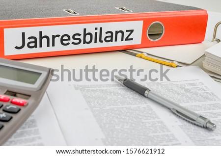 оранжевый папке Label ежегодный баланса пер Сток-фото © Zerbor